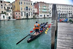 Venicean athletes on rowing Stock Photography