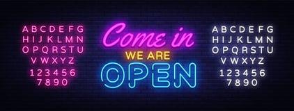 Venido adentro somos plantilla abierta del diseño del vector de la señal de neón Texto de neón de la tienda abierta, moderno colo libre illustration