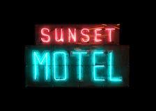 Venido al motel de la puesta del sol Foto de archivo libre de regalías
