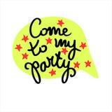 Venido a mi partido Elemento creativo del diseño de la invitación del partido Letras de la mano adornadas con las estrellas rojas libre illustration