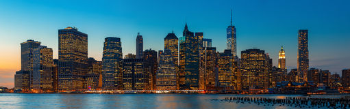 Vening New York City skyline panorama Stock Photography
