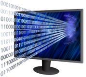 Venir binaire par l'écran d'affichage à cristaux liquides Photo libre de droits