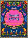 Venir coloré bientôt bannière dans le style de kitsch d'art de camion de l'Inde illustration de vecteur