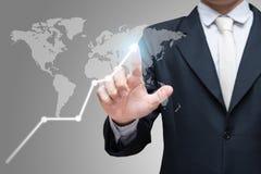 Venir financier de symboles de posture d'homme d'affaires de contact debout de main Photographie stock