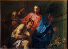 Venise - le miracle du Christ guérissant le b aveugle Photos stock