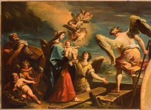Venise - le vol dans la scène de l'Egypte (1733) par Gaspare Diziani dans l'église Chiesa di San Stefano Image libre de droits