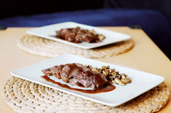 Venison. With wine rose sauce and mushrooms Stock Photo