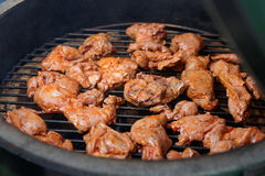 Venison being fried on grill. Marinated venison being fried on grill Royalty Free Stock Photo