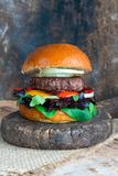 Venison burger in brioche bun. With peppery leaf salad, onion and roast peppers royalty free stock photos