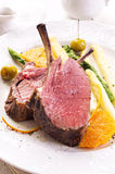 Venison Carree with Asparagus Royalty Free Stock Photos