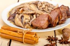 Venison deer game filet and wild mushrooms Stock Photos