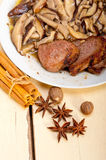 Venison deer game filet and wild mushrooms Royalty Free Stock Images