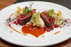 Venison fillet and potato puree Royalty Free Stock Photos