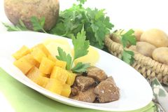 Venison goulash with rutabaga and potatoes Royalty Free Stock Photos