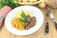 Venison goulash with rutabaga Stock Images
