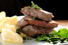 Venison meat steak with potato puree Stock Photo