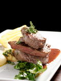 Venison meat steak with potato puree Stock Photography