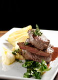 Venison meat steak with potato puree Stock Images