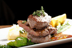 Venison meat steak with potato puree Royalty Free Stock Photo