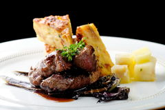 Venison meat steak with potato Stock Photo