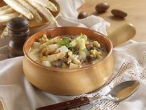 Venison ragout soup with asparagous Royalty Free Stock Image
