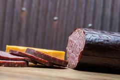 Venison sausage,jalapeno,cheese,crackers Royalty Free Stock Photos