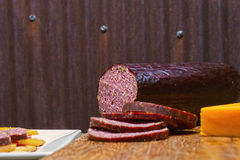 Venison sausage,jalapeno,cheese,crackers Stock Photos