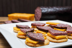 Venison sausage,jalapeno,cheese,crackers Stock Image