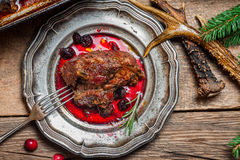 Venison served with cranberry sauce Stock Images