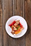 Venison skewer and vegetables Royalty Free Stock Photography