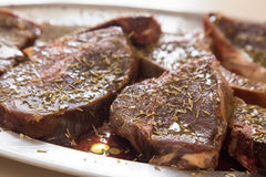 Venison steaks marinating Stock Photos