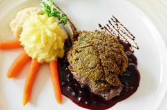 Venison with whortleberry sause Stock Photo