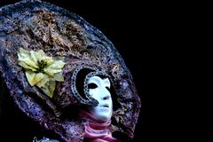 A venitian masked woman. With a headpiece royalty free stock photo