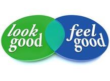 Κοιτάξτε και αισθανθείτε την καλή εμφάνιση ισορροπίας διαγραμμάτων Venn εναντίον της υγείας Στοκ Φωτογραφία