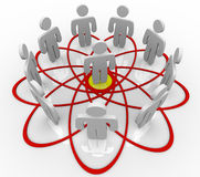 Venn Diagram Many People One Person in Center vector illustration