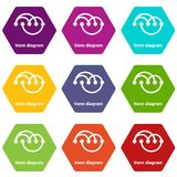 Venn diagramm icons set 9 vector. Venn diagramm icons 9 set coloful isolated on white for web Stock Photography