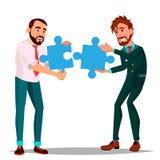 Vennootschapvector Tweepersoonszakenman Holding In Hands Twee Grote Raadsels en Samengebracht het Illustratie stock illustratie