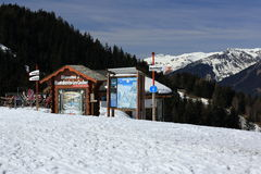 Venoise Express, Winter landscape in the ski resort of La Plagne, France Royalty Free Stock Photos