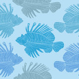 Venomous marine fish seamless pattern. Lionfish. Venomous marine fish seamless  pattern Royalty Free Stock Images