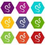 Venomous snake icon set color hexahedron. Venomous snake icon set many color hexahedron isolated on white vector illustration Royalty Free Stock Photos