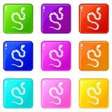 Venomous snake icons 9 set. Venomous snake icons of 9 color set  vector illustration Stock Photography