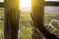 Venster aan het nieuwe leven, handen open venster met de schitterende mening van de landschapsaard over de zomer stock afbeelding
