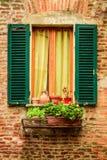 Venster in een oud die huis met bloempotten en bloemen wordt verfraaid Stock Fotografie