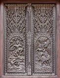 Venster het woodcarving in tempel Stock Afbeelding