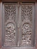 Venster het woodcarving in tempel Royalty-vrije Stock Foto