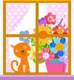 Venster, kat en bloem Stock Foto