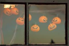 Venster met de decoratie van Halloween Royalty-vrije Stock Fotografie