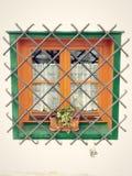 venster met decoratief Stock Fotografie