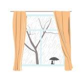 Venster met gordijnen Regenachtige bewolkte dag Passers huid onder paraplu's Vector illustratie royalty-vrije stock afbeeldingen