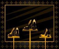 venster met schoenen met hoge hiel stock illustratie